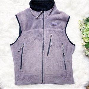 • Patagonia Fuzzy Purple Logo Warm Vest •